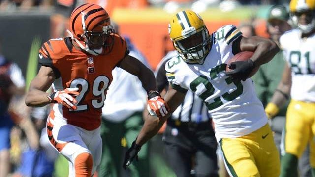 Green Bay Packers running back Johnathan Franklin carries the ball against the Cincinnati Bengals during a game at Paul Brown Stadium in Cincinnati last September.