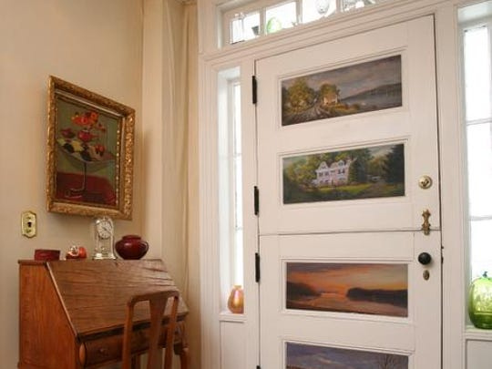The double front door in the home of Gene and Nancy Weinberg in Grand View-on-Hudson, photographed Feb. 18, 2014. The five bedroom home is on the market. ( Mark Vergari/The Journal News )