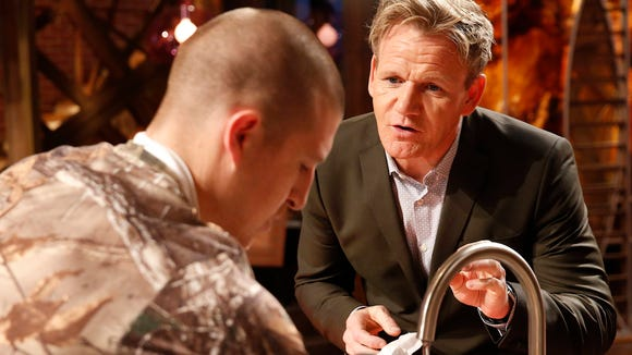 Tyler Viars discusses his dish with chef Gordon Ramsay on the June 23 episode.