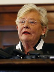 Kay Ivey speaks April 10, 2017, after taking the oath