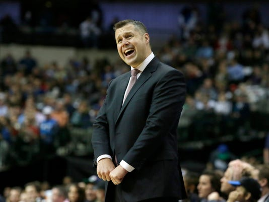 Memphis Grizzlies head coach David Joerger yells from the sideline during the first half of an NBA basketball game against the Dallas Mavericks Friday, Dec. 18, 2015, in Dallas. (AP Photo/LM Otero)