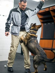 K-9 dog Alan excitedly lunges toward his toy, a length