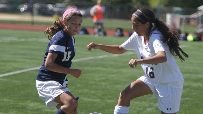 Action during a Section 1 girls soccer game between Clarkstown North and Pelham at Clarkstown High School North on Saturday, Sept. 24, 2016. Clarkstown North won 5-0.