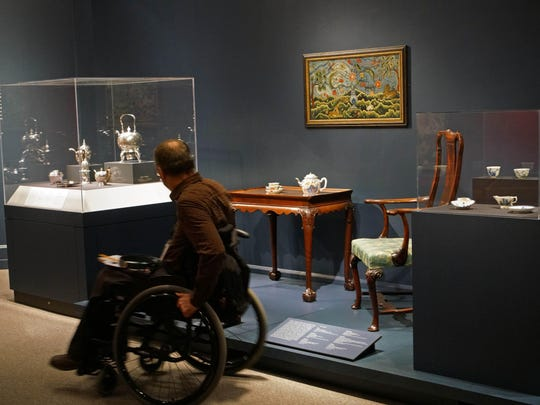 """A visitors explores Winterthur Museums """"Made in the Americas: The New World discovers Asia."""""""