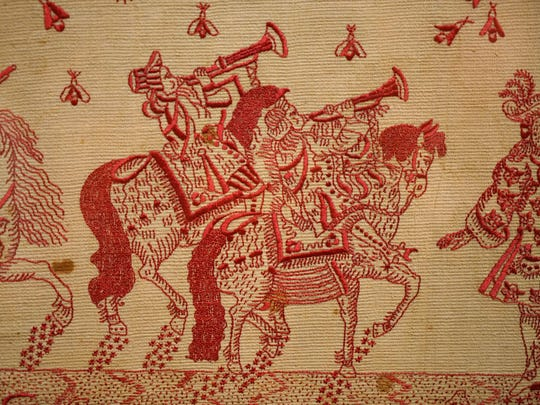 """Hanging valance from Peru in Winterthur Museums """"Made in the Americas: The New World discovers Asia."""""""