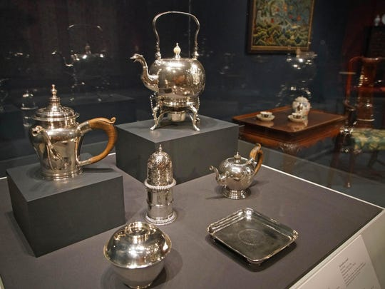 """Jacob Hurd made teapots shaped of Chinese porcelain vessels in Winterthur Museums """"Made in the Americas: The New World discovers Asia."""""""