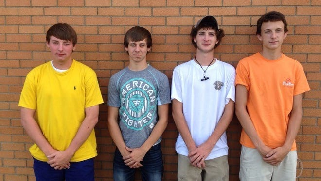 (l to r) Union Co FFA Small Power team which competed in the State contest. Ben Owen, Austin Hite, Drake Shirel, and Tyler Alderson.