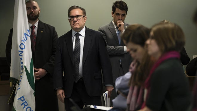 Acting Environmental Protection Agency Administrator Andrew Wheeler walks to a podium a news conference in Philadelphia, Thursday, Feb. 14, 2019.