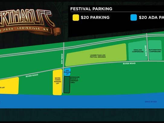 Here are the official parking spots for Louder Than