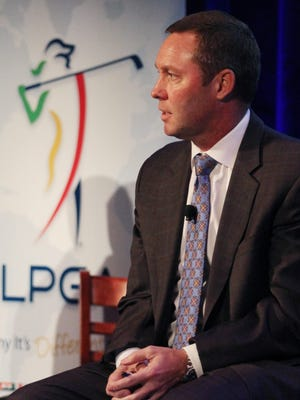 LPGA Commissioner Mike Whan speaks during a press conference during the CME Group Tour Championships Pro-Am at The Ritz Carlton Golf Resort on Tuesday.