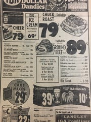 A December 1973 IGA grocery ad.