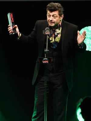 LONDON, ENGLAND - MARCH 29:  Andy Serkis wins the Jameson Best Actor Award on stage during the Jameson Empire Awards 2015 at the Grosvenor House Hotel on March 29, 2015 in London, England.  (Photo by Ian Gavan/Getty Images) ORG XMIT: 545256251 ORIG FILE ID: 468029226