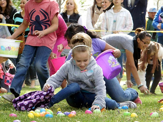 Children made mad dashes to fill their Easter Baskets