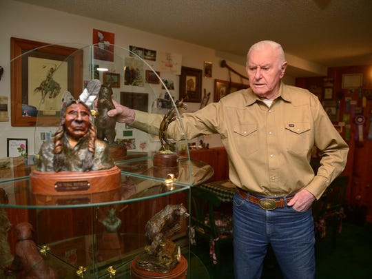 Sculptor Don Ream talks about his experiences in the art world and Western Art Week at his home in Great Falls on Wednesday.