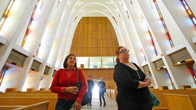 Rosa Venzor  and Elida Rosas visit  Seminario Conciliar Tuesday, Feb. 16,  2016, in Ciudad Juárez, Mexico. Pope Francis will visit Seminario Conciliar on Wednesday.