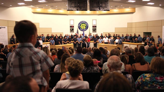 The Washoe County Commission Chambers during a session in July 2012.