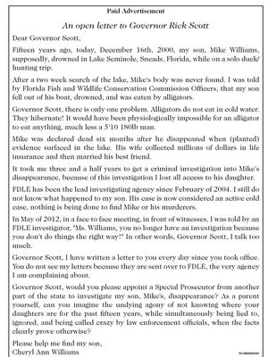Cheryl Williams' open letter to Gov. Scott.