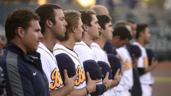 The Montgomery Biscuits before the Jacksonville  Suns game at Riverwalk Stadium in Montgomery, Ala. on  Monday May 5, 2014.