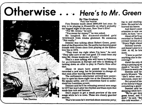 An interview with Fats Domino in the 1976 Evansville Press featuring a Press photo by Don Goodaker.