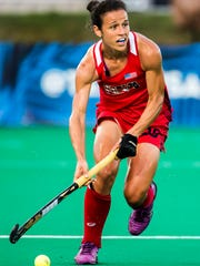 Caitlin Van Sickle plays in the U.S. Women's Field Hockey team's 3-2 win over India in Lancaster, Pa. in 2016.