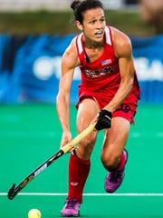 Caitlin Van Sickle plays in the U.S. Women's Field Hockey team's 3-2 win over India in Lancaster, Pa. in 2016.