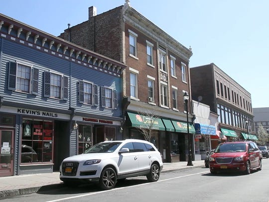 Restaurants and other businesses along Main Street in downtown Port Chester.