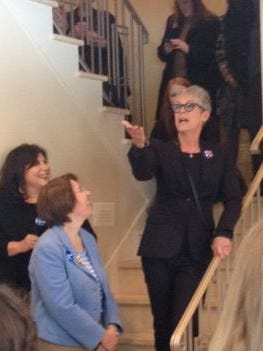 Jamie Lee Curtis (right) with Minnesota Sen. Amy Klobuchar (right) addressed a crowd in Waukee at a Hillary Clinton campaign event.