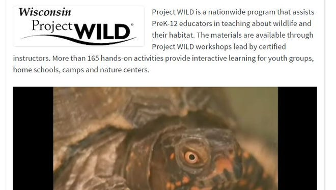 A screenshot from the Department of Public Instruction site shows Wisconsin Project Wild, an educational program formerly hosted by the Department of Natural Resources.