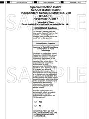 A sample ballot for the Rocori school district election