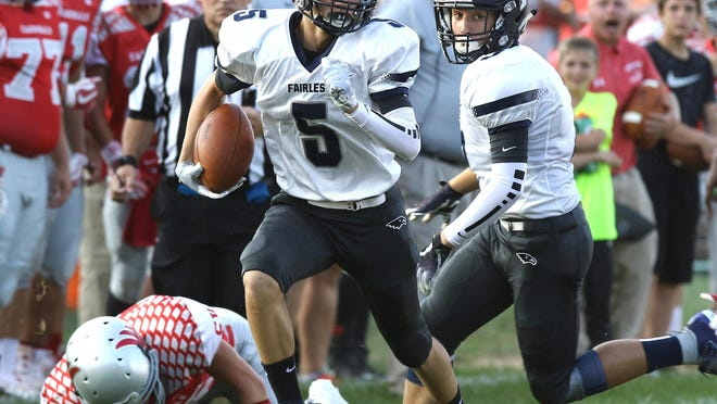 Fairless' Conner Durant (5), shown in the 2018 opener at Sandy Valley, had a kickoff return for a touchdown and an interception in the season opener against CVCA.