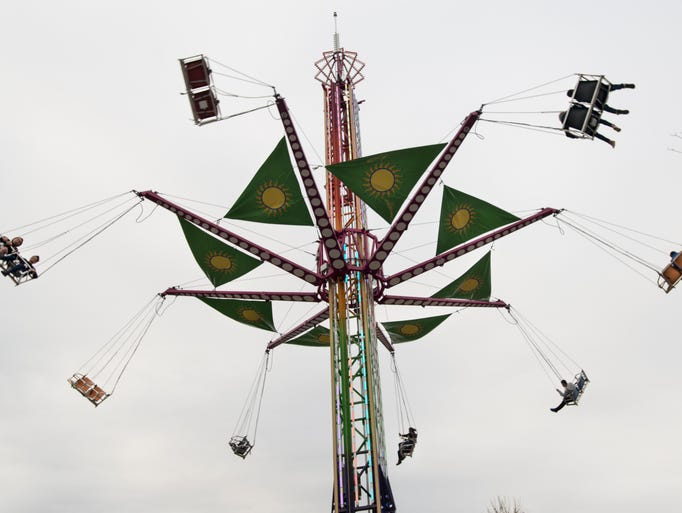 A view of the swings from below. Teaneck V.F.W. Carnival