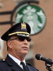 Morristown Police Chief Pete Demnitz speaks during
