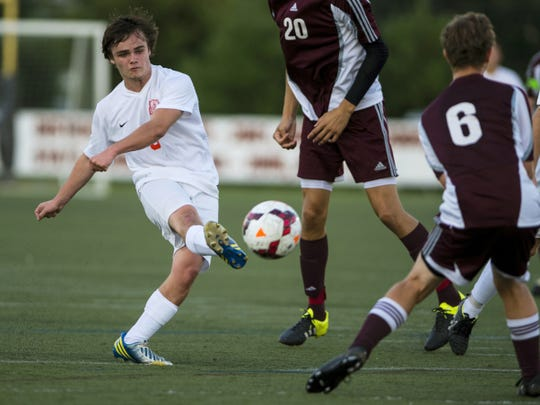 Palmyra senior Jared Bowman will anchor the Cougars' back line, joined by classmates Sam Sheils and Nick Jeliff.