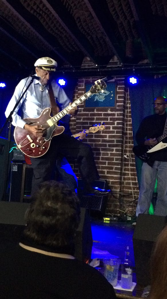 Chuck Berry does the one-legged hop version of his