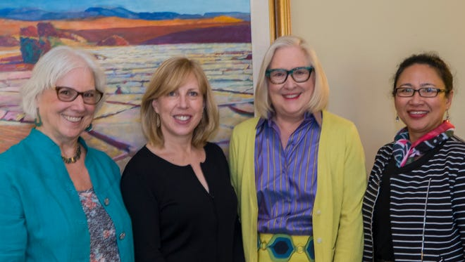 (L-R) Gretchen Heuring, Christina Baker Kline, Nancy Cunningham, Director of Operations, Riverside County Library System Maria Sunio.