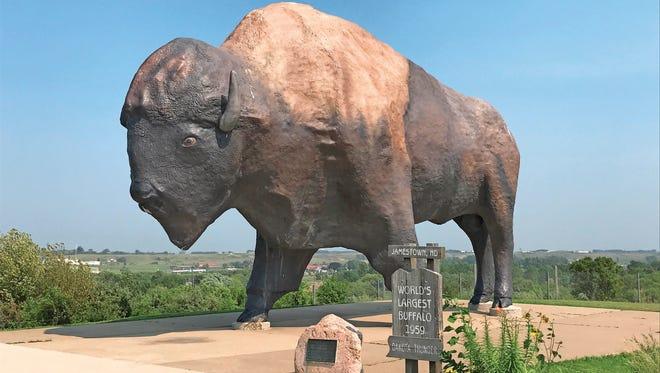 Dakota Thunder, a 26-foot-tall buffalo has been watching over Jamestown, N.D., since 1959.