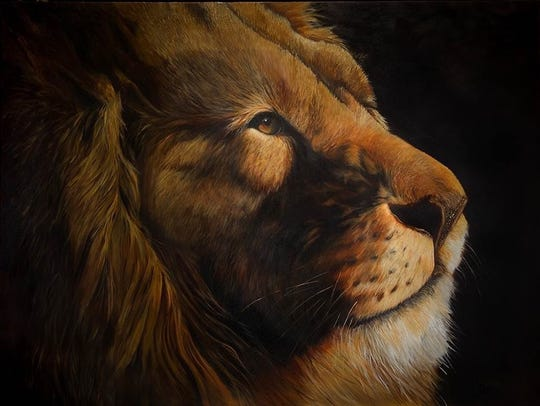 Connie McEwen's portrait of a lion's head is in the