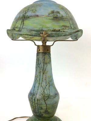 Daum Nancy Art Nouveau table lamp sold for $25,300 last month at EJ's Auction & Consignment.