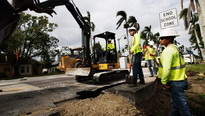 Construction continues along McGregor Boulevard on Monday 11/13/2017. The City of Fort Myers is holding a meeting for public input on more medians. The city will host a public workshop on Thursday from 4:30 to 6:30 p.m. at Covenant Presbyterian Church, Building A, 2439 McGregor Blvd