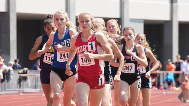 North Rockland's Katelyn Tuohy en route to breaking her own 2017 U.S. No. 1 girls 1,500 record at the NYSPHSAA track and field championships that took place at Union Endicott HIgh School on Saturday June 10, 2017