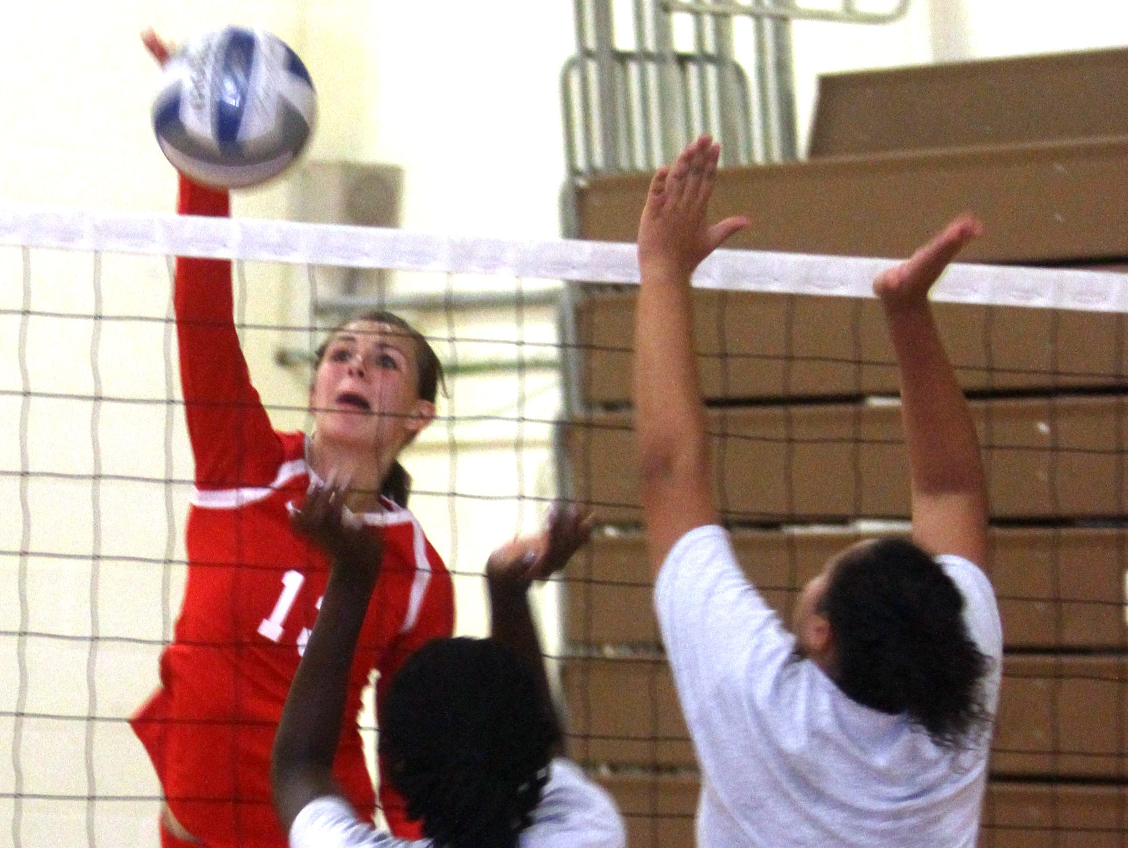 North Rockland junior Madison Monahan (13) was named to the Journal News/lohud Super 7 volleyball team this year. Sept. 3, 2016.