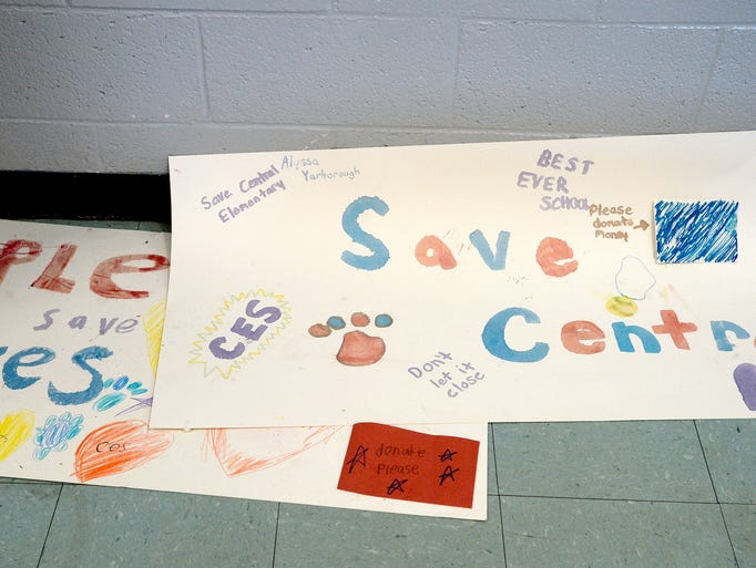 Posters made by student trying to save Central Elementary