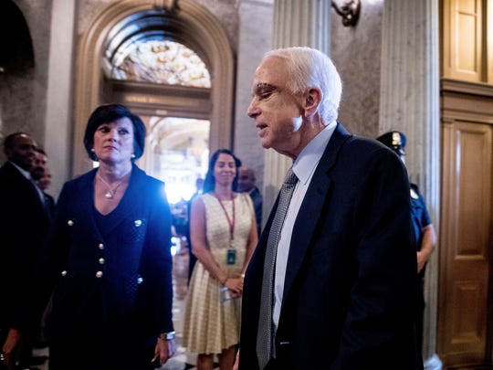 Sen. John McCain, R-Ariz., arrives on Capitol Hill in Washington, D.C., on July 25, 2017.
