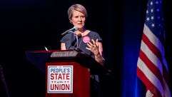 Cynthia Nixon speaks onstage during The People's State