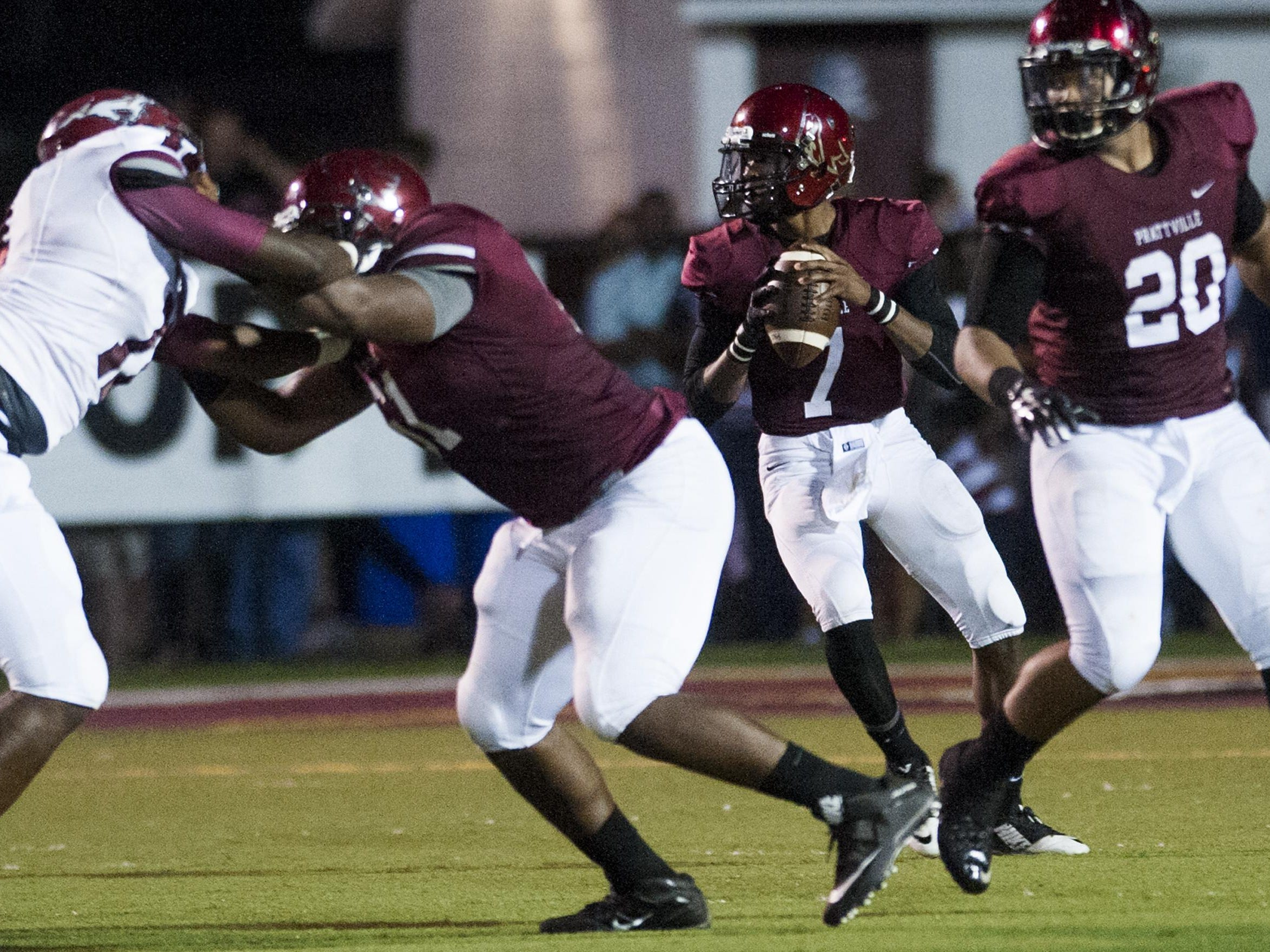 Prattville quarterback Josh Moore, shown throwing against Stanhope Elmore on Aug. 28, finished with 249 total yards and three touchdowns against Smiths Station on Friday at Stanley-Jensen Stadium.