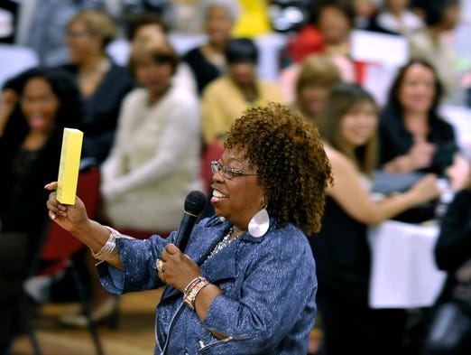 Mamie Hixon was the mistress of ceremonies at Mamie's 10th Annual Girlfriends' Gathering held Wednesday night at New World Landing.