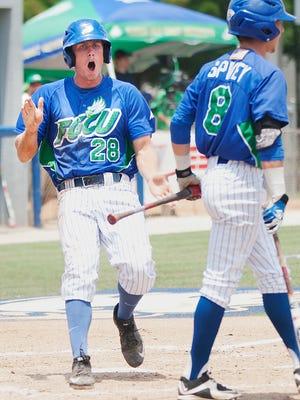 FGCU infielder Tyler Selesky celebrates scoring a run in a game against the University of North Florida at Swanson Stadium.