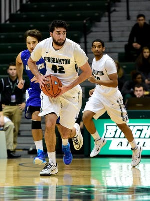 Binghamton University freshman forward Willie Rodriguez looks to push the ball during a game against Hartwick in the Events Center in November.