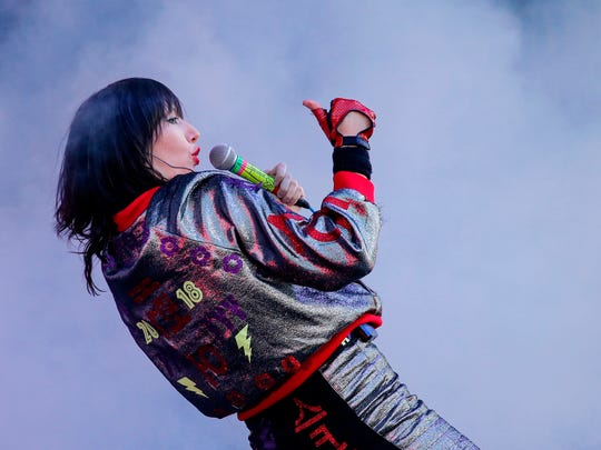 Karen O of the Yeah Yeah Yeahs performs during the eighth annual Governors Ball Music Festival on Randalls Island in New York.