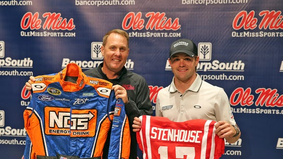 NASCAR driver Ricky Stenhouse Jr., visits the Ole Miss campus on behalf of Talladega Superspeedway